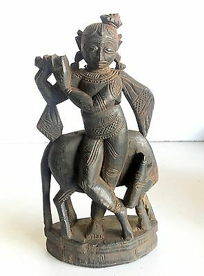 Antique Old Rose Wood Hand Carved Black Hindu Lord Krishna With Cow Statue