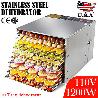 10 Tray Commercial Stainless Steel Food Fruit Jerky Dryer Blower Dehydrator