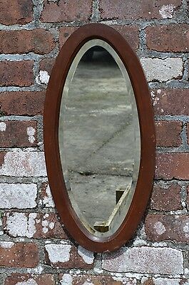 Vintage 1940s 1950s Art Deco Oval Wooden Fireplace Wall Bevelled Mirror
