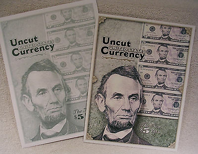 Uncut United States Currency - The New Redesigned $5 Dollar Bill Commemorative
