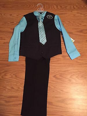 NWT Boys 4 PIECE OUTFIT BLACK PANTS, BLACK VEST, TIE & BLUE SHIRT SIZE 7