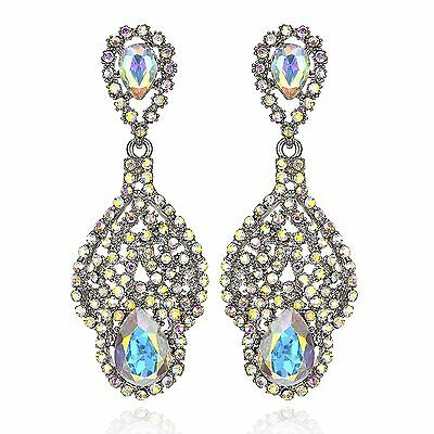 Drop AB White Austrian Crystal Rhinestone Chandelier Dangle Earring Prom E114ab