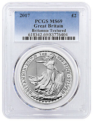 2017 Great Britain 1 oz Silver Britannia £2 - Textured Field PCGS MS69 SKU46297