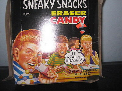 Sneaky Snacks Eraser Candy display box,empty,1989, TOPPS Company