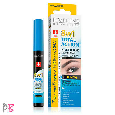Eveline 8in1 Total Action Eyebrow Corrector With Henna GraduallyColouring NEW IN