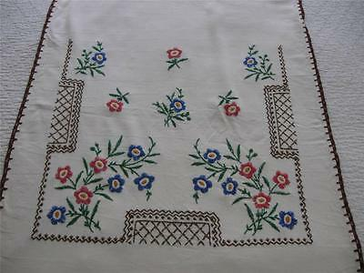 Vintage Antique Hand Embroidery Embroidered Curtain Panel-Flowers-23x51-Linen