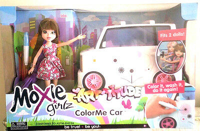 New Moxie Girlz Art-titude Colour Me Car & Doll, Colour it, Wash it, Do it Again