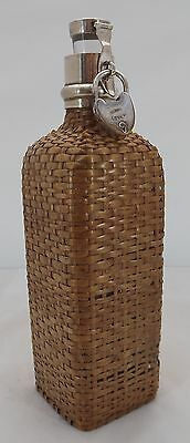Antique Edwardian Silver-Mounted Wicker-Covered Flask Bottle Hukin & Heath 1903