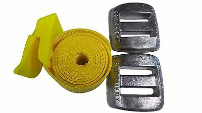 Weight Belt Yellow Nylon Plus 2 Lead Weights - Diving Spearfishing Snorkeling