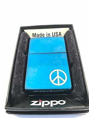 Zippo Peace Symbol on Blue ice with PEACE on side - 2009