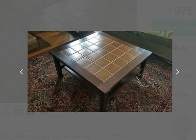 Caramel Brown Tile Top Signed Stickley Oak Coffee Table Arts & Crafts Mission