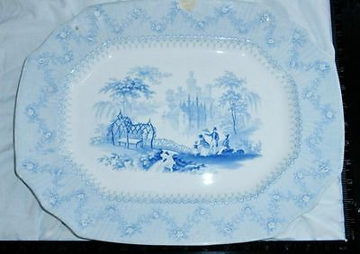 Antique 1840 BLUE Transferware Staffordshire PLATTER TRAY Plate ALCOCK BLANTYRE