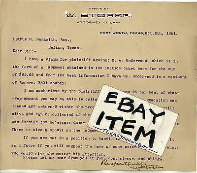 1901 LETTERHEAD Fort Worth Texas ATTORNEY at LAW Lawyer W. STORER