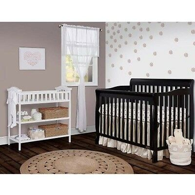 Convertible Crib for Baby Black 5in1 Full Size Toddler Guardrail sleeper Cradle