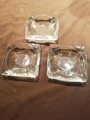 3 VINTAGE GLASS ASHTRAY Thick Clear Glass  Cigar, etc. Ashtray NICE!Art Deco!!