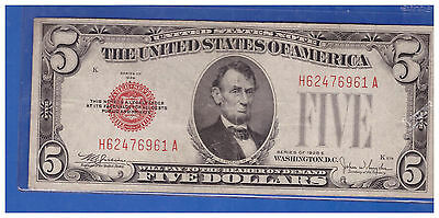 1928E $5 Dollar Bill Old Us Note Legal Tender Paper Money Currency Red Seal M122
