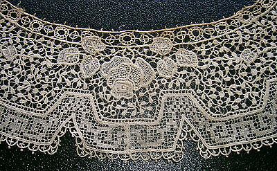 Fine Antique Hand Made Needle & Filet Victorian Lace Collar Linen Floral Motif