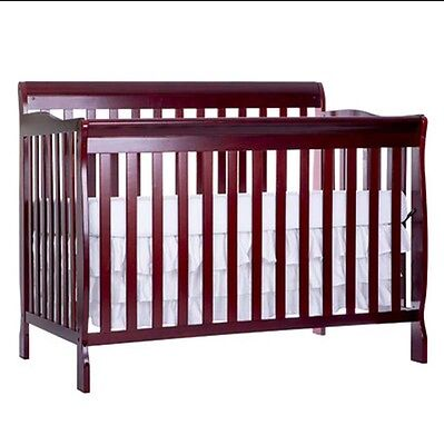Convertible Crib for Baby Cherry 5in1 Full Size Toddler Guardrail Sleeper Cradle