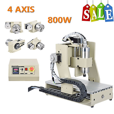 0.8KW CNC ROUTER 3020 Mach3 4 Axis ENGRAVER ENGRAVING DRILLING MILLING MACHINE