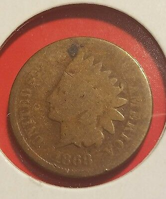 1868 1C BN Indian Cent, full GOOD, wow