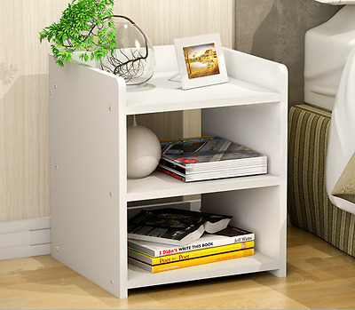 Bedside Table Cabinet Lamp Side Nightstand Unit Storage Simple Design White