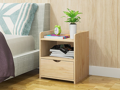 Bedside Table Cabinet Lamp Side Nightstand Unit Storage Simple Design 3 Colours
