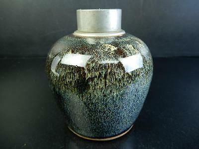 F8682: Japanese XF Old Seto-ware Sea cucumber glaze TEA CADDY Chaire Container