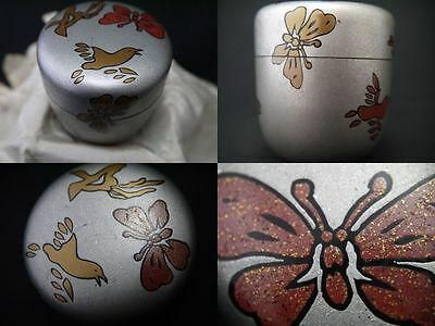 Japan Lacquer Wooden Tea Caddy Natsume W/ Design Of Butterfly & Bird In Makie(M7