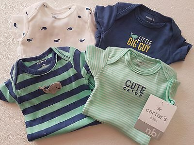 Carter's Baby NEWBORN - 4 x  boys short sleeved bodysuits - layette - New