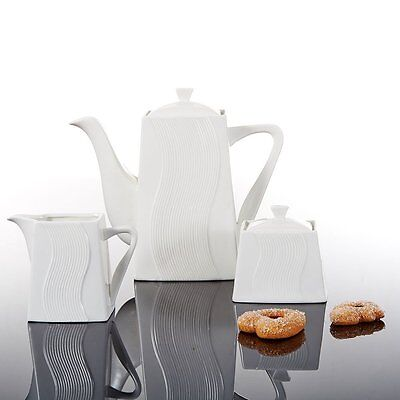 MALACASA Poncio 5pcs Ceramic Teapot Porcelain China Milk Jug Sugar Bowls White