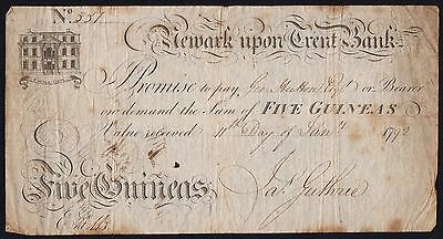1792 NEWARK UPON TRENT BANK 5 GUINEAS BANKNOTE * SCARCE * VG+ * Outing: 1487