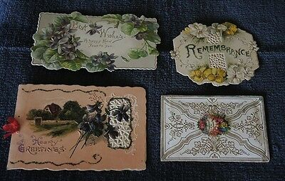 4 ANTIQUE GREETING CARDS BIRTHDAY NEW YEAR CHRISTMAS WITH MESSAGES c1890s #10