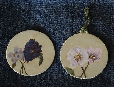 2 Antique Victorian Pin Wheel Pin Discs Hand Painted Flowers #16