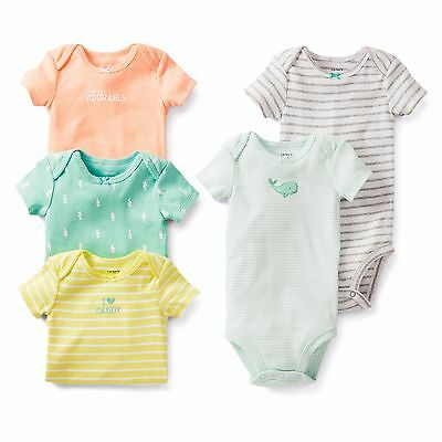 Carter's Baby NEWBORN - 5 x  girls short sleeved bodysuits - layette - New