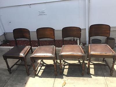 4x Vintage retro rustic deco wooden timber chairs shabby chic dining kitchen