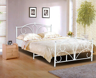Antique Double King Metal Bed Frame Mattress Foundation Base White AU Seller