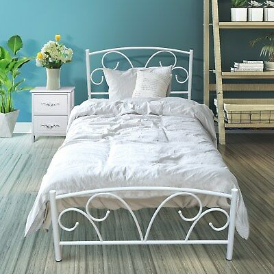 Single White antique looking Metal Bed Frame with Posture Slats Modern Sturdy