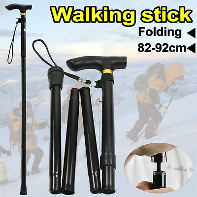 Black Adjustable Walking Stick Travel Retractable Hike Folding Cane Metal Pole
