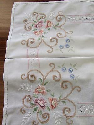 Small Hand Embroidered Vintage Tablecloth - Cross Stitch Pattern - 84 x 82 cm