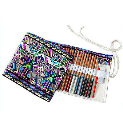 UK School Supplies Canvas Wrap Roll Up Pencil Case Pen Bags Holder Storage Pouch
