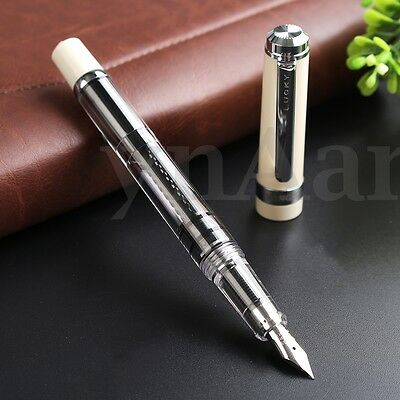 2017 Model Wing Sung 698 Transparent Piston Fountain Pen Extra Fine 0.38mm Nib