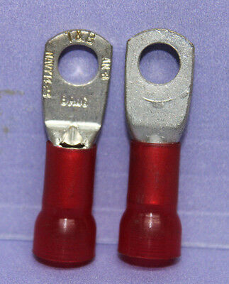 "LOT of 24 T&B #8 AWG NAVY 14-23 INSULATED RING CRIMP TERMINAL LUG - 5/16"" wide"