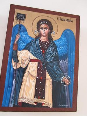"Original Byzantine Icon 1/1 by artist Marily Xaga ""Gabriel"",Greek,signed,certi"