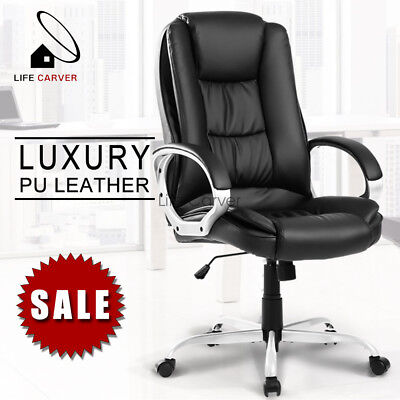 Executive Office Chair Computer Home Luxury Leather Swivel Adjustable High Back