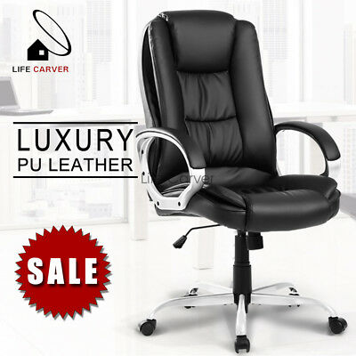 Office Computer Desk Chair PU Leather Swivel Home Adjustable Executive Gaming UK