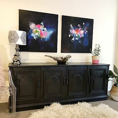 Large Black French Regency TV unit Sideboard Buffet Storage Cabinet Drawers