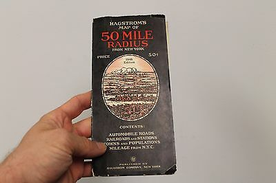 Hagstrom's Map of 50 Mile Radius From New York  1948 Edition NY/USA Vintage