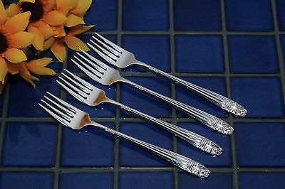 Set 4 Wallace Harmony House Silverplate DANISH QUEEN Grille Forks 1944 FREE SHIP