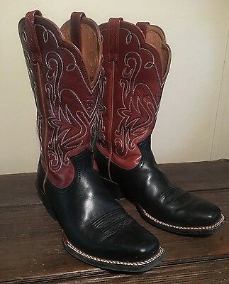 Ariat Legend Women's Square Toe Leather Western Boots - Black and Brown - Sz 7.5