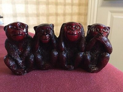 4 Four Monkeys Statue Figurine Do No Evil Say No Evil Hear No Evil See No Evil